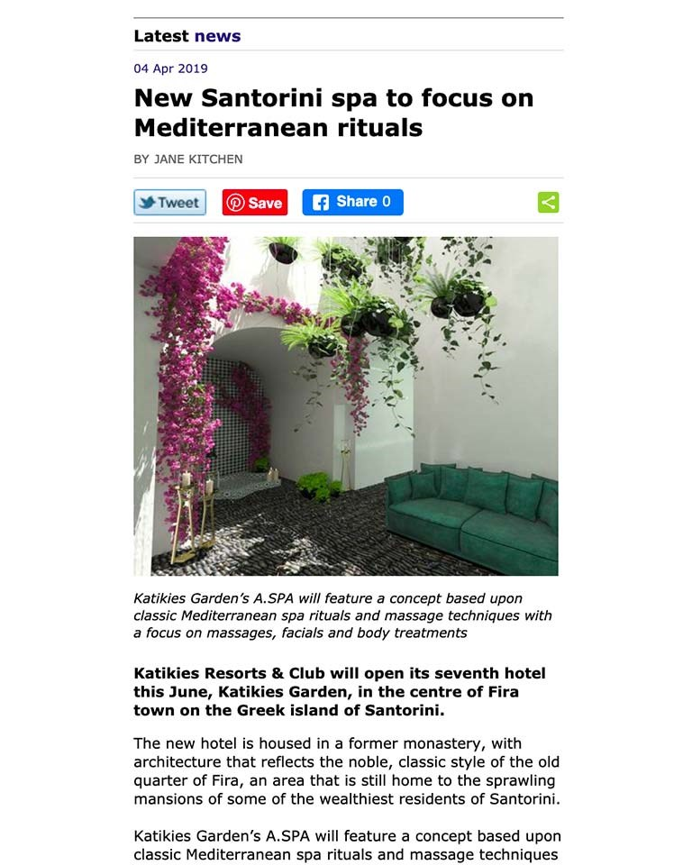 New Santorini Spa To Focus On Mediterranean Rituals