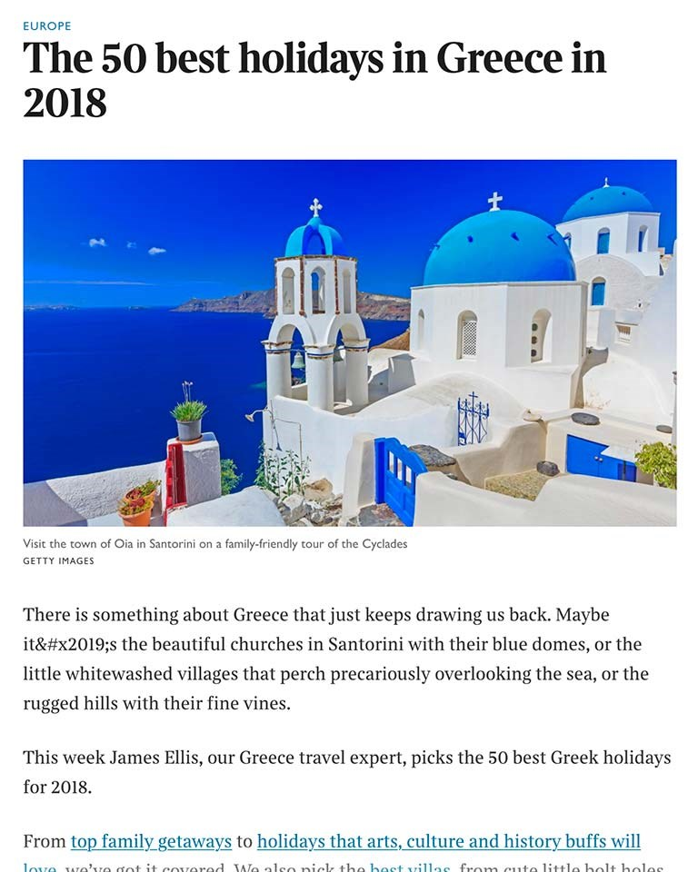 The Times UK 50 Great Holidays in Greece in 2019